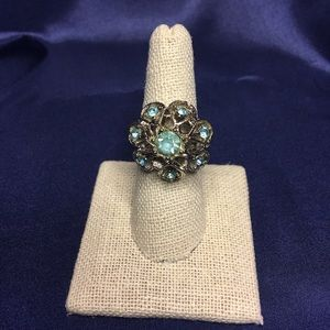 Vintage adjustable teal ring